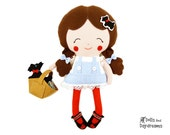 Dorothy Doll Sewing Pattern Wizard of Oz Stuffed Toy DIY - Felt Toto dog softie, Basket and Shoes included
