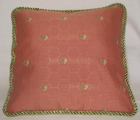 Country French Cottage Rooster Pillow Provence Pink Coral