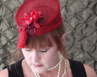 red pillbox women sinamay hat