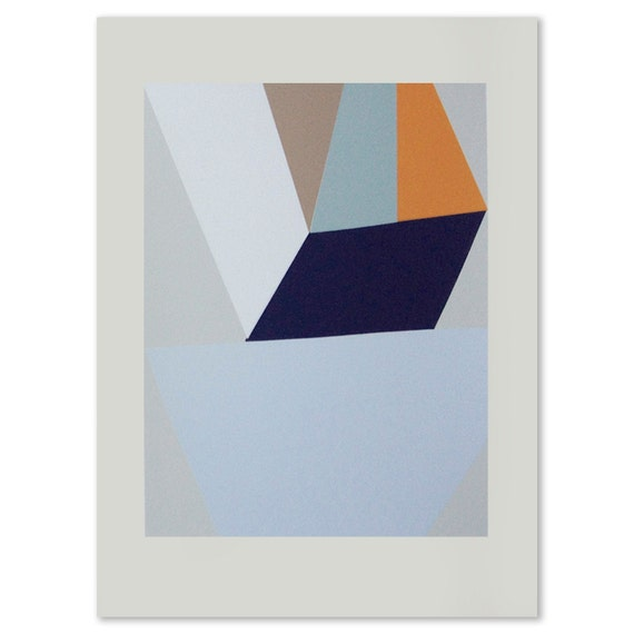 Geometric original seven colour handmade screenprint in lovely blues, greys, neutrals and orange.