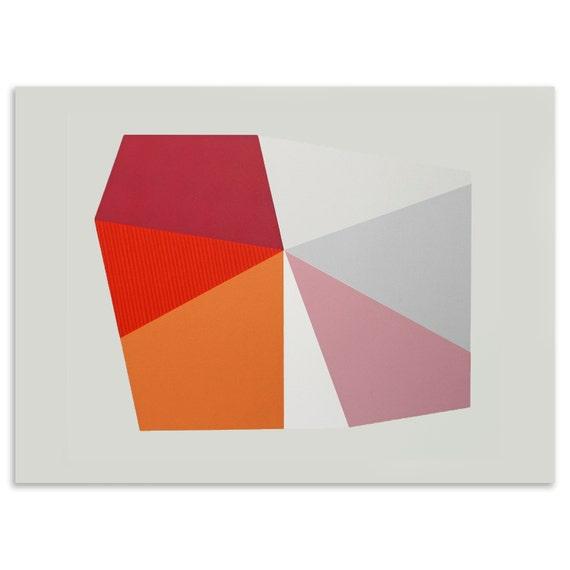 large retro print, handmade original screenprint on beautiful fabriano paper in reds, pinks, oranges and creams.