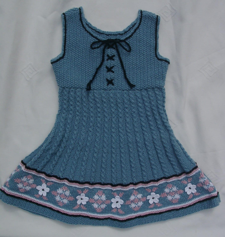 Knitting Pattern Pinafore Dress : Baby/Girls blue hand knitted dress/pinafore dress by TradKnits