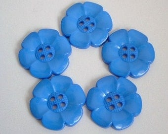 Lot of 5 Extra Large Flower Buttons - Blue