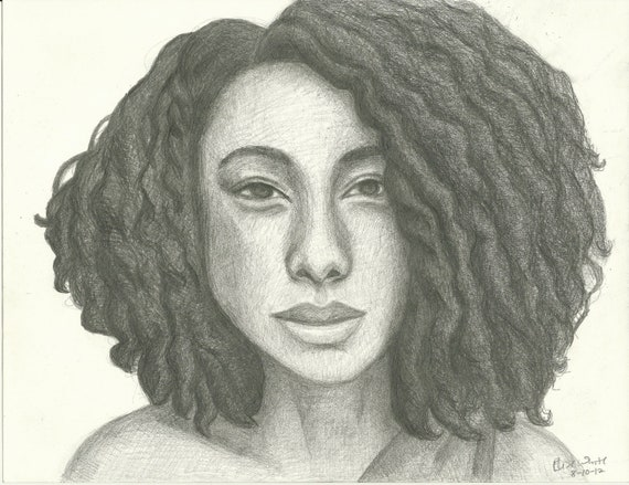 Corinne Bailey Rae Pencil Portrait Print - 8  x 10
