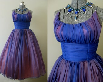 Indigo Amethyst Chiffon Swirl Vintage 50s Party Dress - Prom Cocktail Tulle Circle Skirt Shelf Bust Fairy Princess Summer Fashion XS S