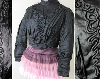 Antique Victorian Black Silk Lady's Corset Blouse Soutache Squiggle - Downton Abbey Elegant 1800 Top Steampunk Goth Costume Shirt Lace XS S