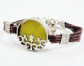 Bohemian Stacking Bracelet Turkish Tulip Leather - Silver Plated, Oliver Green Jade, Brown Cord - Fall fashion