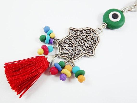 Limited Edition Hamsa - Hand of Fatima Keychain or Bag Charm -  Tassel & Handmade beads - Bright Colors - Red, Blue, Green, Yellow