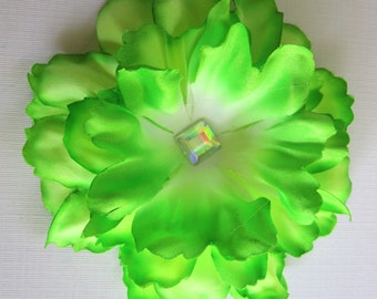 Neon Green Flower Hair Clip with a  rhinestone middle --- Perfect for a headband