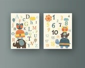 Nursery Letters And Nursery Numbers Set of Prints Nursery Letters Theme in Neutral Colors With Owl Turtle Elephant Brown Teal Orange Blue