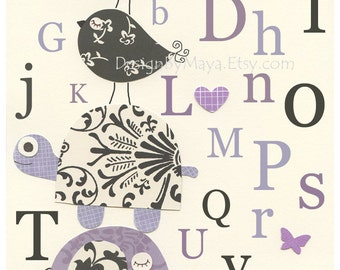 Baby girl room art, Kids Room Decor, Nursery wall Art print, baby elephant, baby turtle ..ABC, Alphabet...black and lilac, purple, lavender