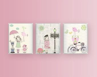 Nursery decor, Baby room decor, Baby girl nursery wall art, Paris Metro. set of 3 print shabby chic, vintage metro nursery, pink light green