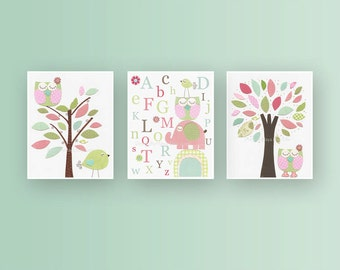 Girl Nursery Decor, Girl Nursery Art, Baby Girl Nursery Wall Art, Baby Girl Nursery, Girl Nursery Wall Art, Pink and Green,set of 3 prints
