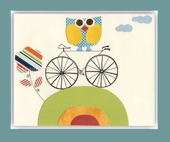 Owl Decor For Kids - Nursery Decor For Baby Boy Room With Little Owl and Bicycle - Green Orange and Baby Blue Cute Owl Nursery Art