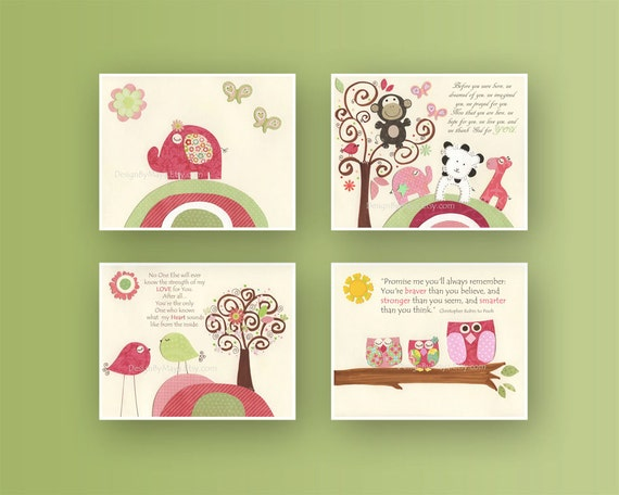 Nursery Wall Decor Set : Nursery wall print baby girl room decor set of by