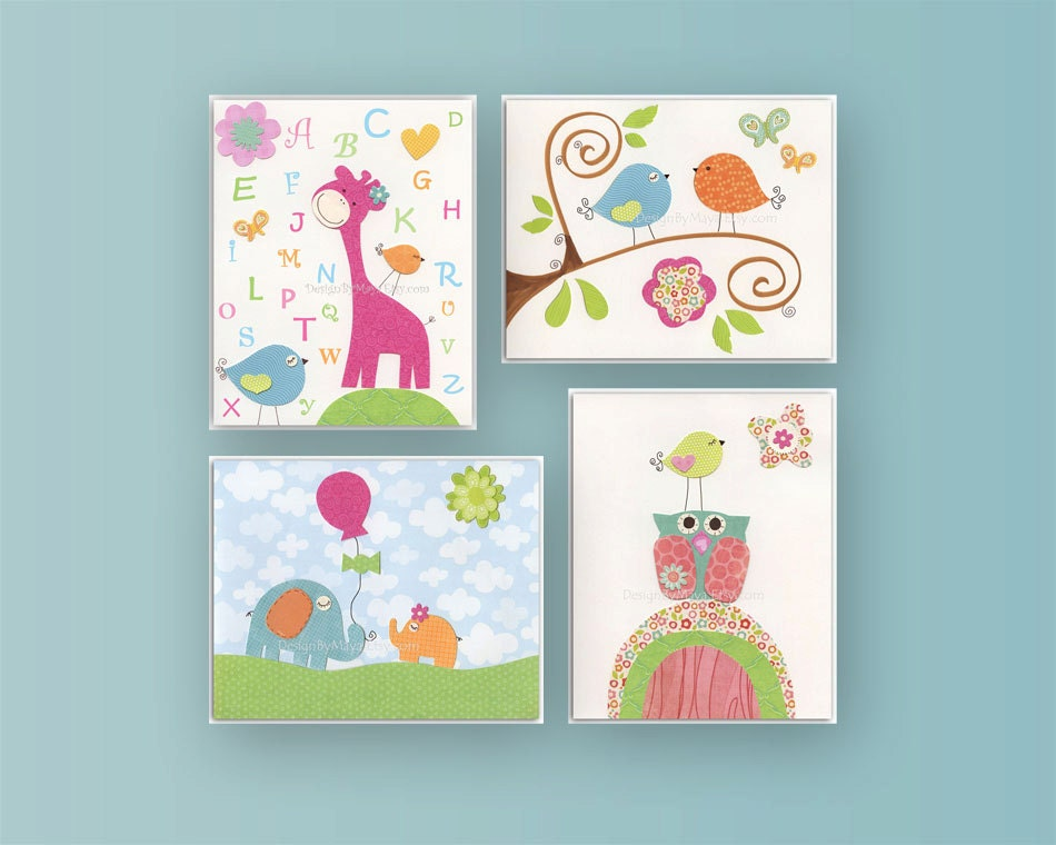 Nursery Wall Decor Set : Kids wall art decor nursery set of prints