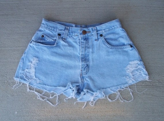 """CLEARANCE SALE - Distressed Shorts High Waist Slashed Denim Cut Offs - US Size 2/3/4 - 25"""" Waist   -  Priority Shipping"""