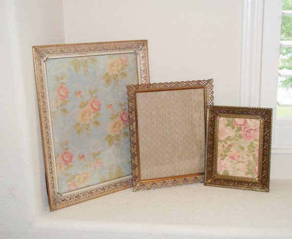 Vintage Picture Frames Filligree Gold, White and Brass With Glass and Backings - Set of 3