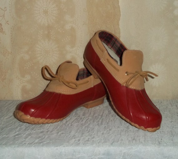New 80s Red Duck Boots By Sporto // Size 7 7.5 US Womens