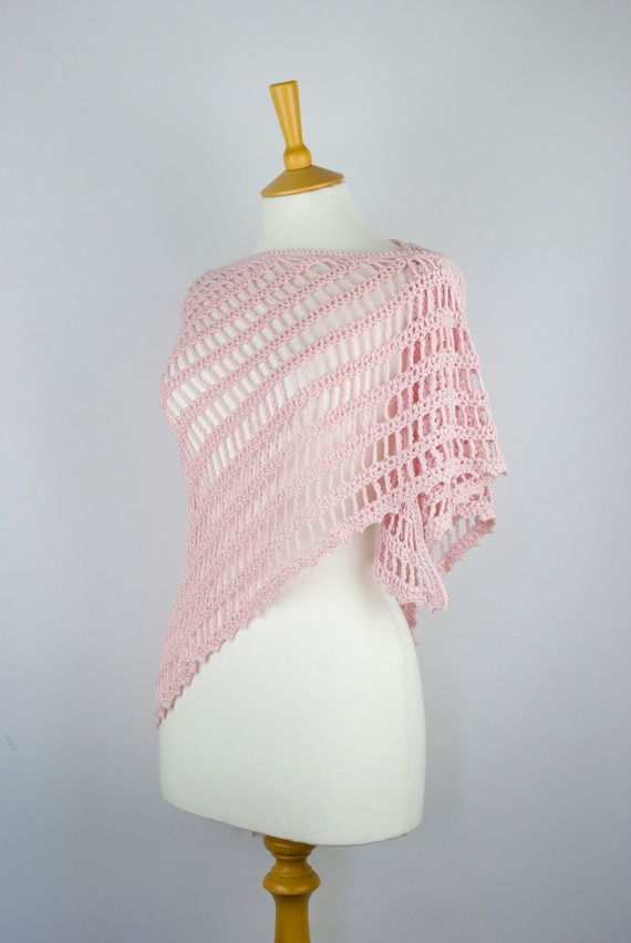 shawl crochet pale pink triangular handmade wrap scarf neckwarmer lace for her - bamboo viscose wool
