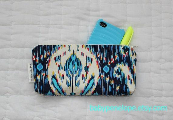 Pencil Case/Cosmetic Bag/ Gadget Case - Blue Ikat - LAST ONE
