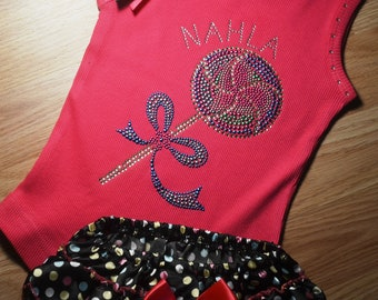 Personalized Lolly Pop girls Tank Top Tee Shirt: Candy birthday shirt. embroidered, rhinestone, bling, crystal shirt, 2t, 3t, 4t, 5t