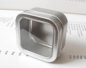 1 square tin with clear window lid, 100ml small organizer, small storage