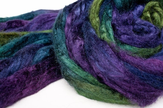 100% tussah silk combed top (roving, spinning fiber), 2 oz: DRAGONFLY