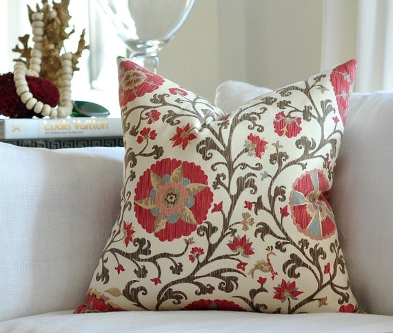 "LAST TWO - 20""sq.  Schumacher Fergana  pillow cover in Teak"