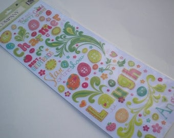 """GLITTER Berry Sweet Words and Icons Rub-ons by K&Company 4.5""""x12"""""""