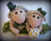 Wedding Cake Topper, Custom, Personalized, Sheep, Two Sheep in a Pod Polymer Clay Wedding/Anniversary Keepsake - trinasclaycreations