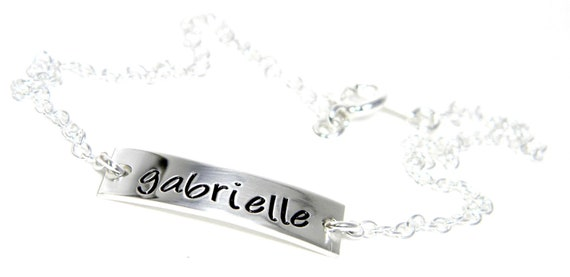 Personalized Anklet - Hand Stamped Jewelry Sterling Silver