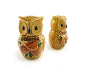Honey gold Owl salt and pepper shakers - vintage collectible florida souvenir