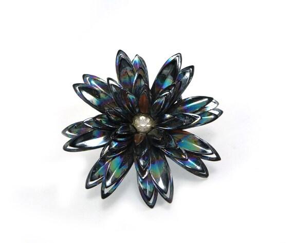 Vintage iridescent flower brooch midnight blue black pin