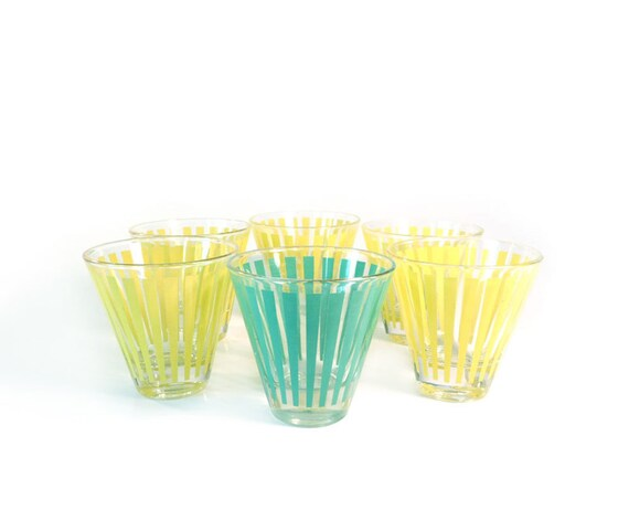 Vintage shot glasses striped yellow and aqua