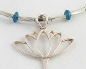 sterling silver lotus charm necklace with azurite beads