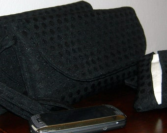 Black Jacquard Polka Dot Clutch with Yellow, Grey, and White Interior