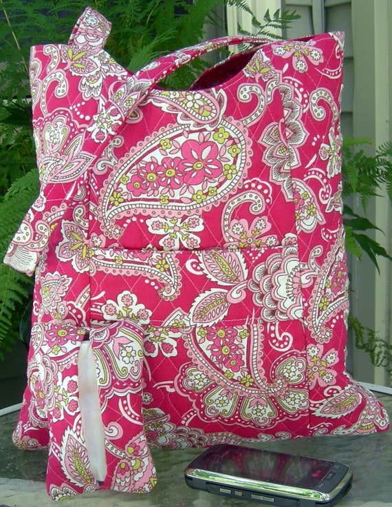 Pink and Green Floral and Paisley Organizer Tote with Matching Pocket Tissue Holder