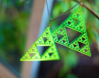 Triangle Fractal SierPInski Earring Pair