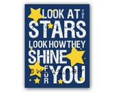 Song lyric typography for kids wall art. Look at the stars print nursery artwork. Custom colors available Art print by WallFry
