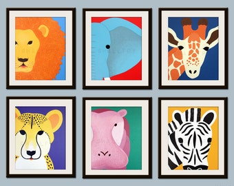 Kids art for children. Kids decor. Jungle nursery art, safari animal nursery wall art. Baby nursery wall decor. SET OF Any 3 Safari prints