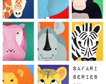Art for children jungle baby nursery. Safari nursery art. Art for kids wall art. Zoo animal nursery decor, kids decor. SET of ANY 5 prints