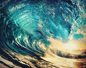 Surf photograph: Wave Goodbye - 5x7 surf photo from inside the barrel of a yellow gold and blue wave