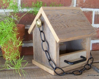 Bird Feeder, Wooden Rustic Reclaimed Weathered Wood Bird Feeder with Black or White Chain and Perches