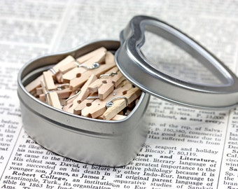 40 Mini Clothespins in a Metal Heart Tin - Craft Supply - Packaging - Scrapbooking