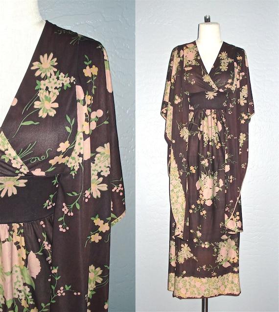 Vintage 70s boho dress CHOCOLATE FLORAL draped sleeves maxi - S