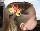 Turkey Bow - Turkey Lapel Pin - Cute Turkey - Turkey Clip - Turkey Hair Bow - Thanksgiving Bow - Turkey Ribbon Sculpture - Etsykids Team
