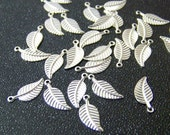 leaf charms, silver plated brass leaves, 12mm x 6mm, 10 charms (299D)