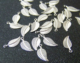 leaf charms, silver plated brass leaves, 12mm x 6mm, multiple packet amounts available (299D)