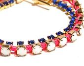 Royal Blue and Pink Rhinestone Wrap Bracelet Bold and Brilliant